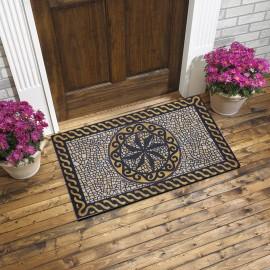 Antik Mozaik Desenli Kauçuk Kapı Önü Paspası
