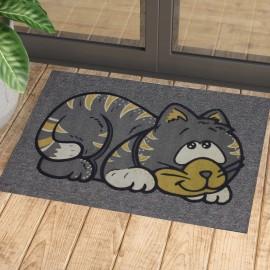 Kedi Baskılı Kauçuk Kapı Önü Paspası