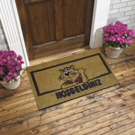 Kedi ve Hoşgeldiniz Yazılı Kauçuk Kapı Önü Paspası