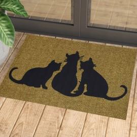 Kediler Baskılı Kauçuk Kapı Önü Paspası