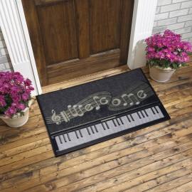 Piyano ve Nota Baskılı Kauçuk Kapı Önü Paspası