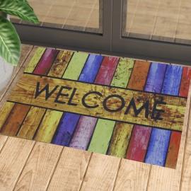 Renkli Welcome Baskılı Kauçuk Kapı Önü Paspası