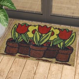 Saksıda Çiçekler Desenli Kauçuk Kapı Önü Paspası
