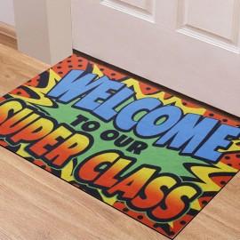 Süper Sınıfımıza Hoşgeldiniz Yazılı Kauçuk Kapı Önü Paspası