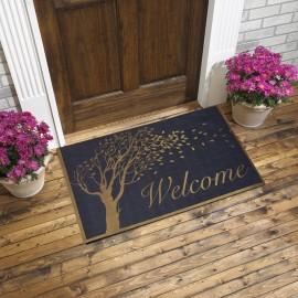 Welcome ve Ağaç Baskılı Kauçuk Kapı Önü Paspası