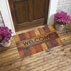 Welcome Yazılı Ahşap Görünüm Kauçuk Kapı Önü Paspası