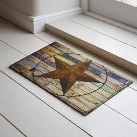 Yıldız ve Ahşap Desenli Kauçuk Kapı Önü Paspası